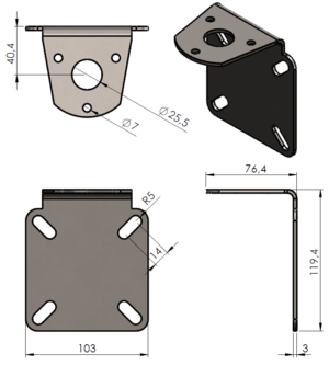 Bracket for pole or wall mounting Ø 38-75 mm, Stainless steel, (antenna hole Ø 25 mm)