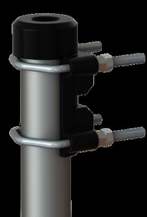 """Kraftigt pressgjutet Mast/vägg/räckfäste i lackerad aluminium (1""""-14NF) - Ø 38-60 mm"""
