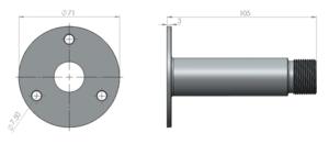 """Däcksfäste 1""""-14NF för mindre/lättare antenner"""