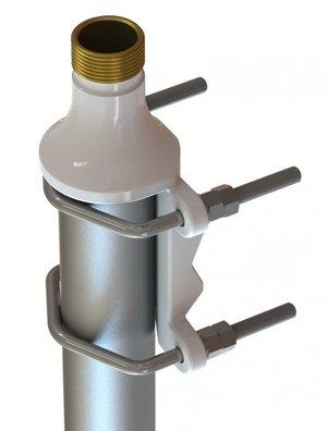 """Kraftigt bygel/mastfäste 1""""-11 med fäste för räckverk/mast i aluminium - Ø 30-75 mm"""